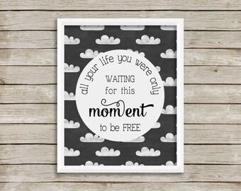 The Beatles Blackbird Lyrics Print, The Beatles Blackbird Wall Art Printable, Chalkboard Clouds, Cute Office Print, Nursery Print (8x10)