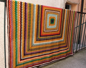 Crochet granny square blanket new spirit of 70's