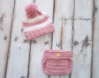 Newborn Baby Girl Pom Pom Hat and Diaper Cover Set Mauve and White Stripes