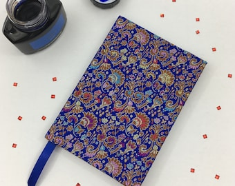 A6 Lined Notebook Hand Covered in a Chinese Oriental Silk Brocade Fabric