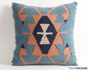 20x20 Blue kilim pillow cover