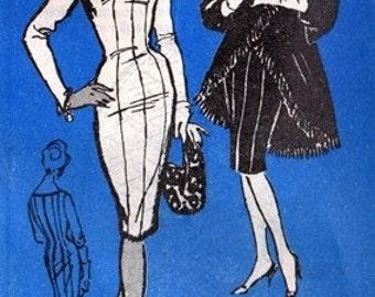 Prominent Designer A548 Extravagent Wiggle Dress & Coat 1960's / SZ16 UNCUT