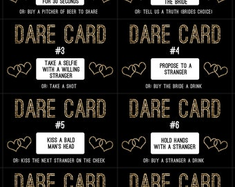 Bachelorette Party Gold Dare Cards Game