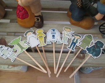 Vintage Star Wars Inspired Cupcake Toppers Set of 27 with Free Shipping