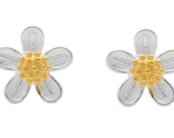 Dainty Forget-me-nots Wild Flower Blossom Post Earrings in Sterling Silver e41