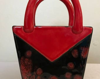 Ceramic purse caddy.purse caddy. Handmade caddy.ceramic purse
