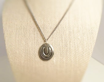 Horseshoe / Good Luck, Necklace. Pendant. Hand stamped both sides