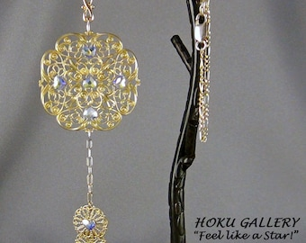 """Filigree Necklace  - Raw Brass, Swarovski Heart Flat Back,  Gold Filled  Figaro Chain - 22"""" + 4.50"""" Pendant - Hand Crafted Artisan Jewelry"""
