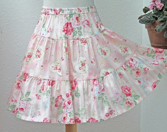 3-Tier Girls Twirl Skirt Pink Rose Floral Summer Outfit Twirly Girls Skirt Tween Cotton Girl Clothes 2T 3T 4T 5 6  7 8 10 12 14 Kid Clothes