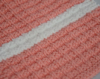 Hand Knit Washcloth (Pink with White Stripe)