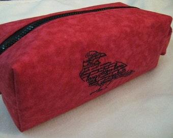 Edgar Allan Poe bag with The Raven Poem Embroidery - Pencil Bag Craft Bag Cosmetic Bag Makeup Bag Shaving Kit LARGE