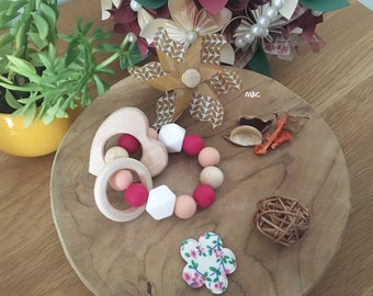 Teether silicone and wood
