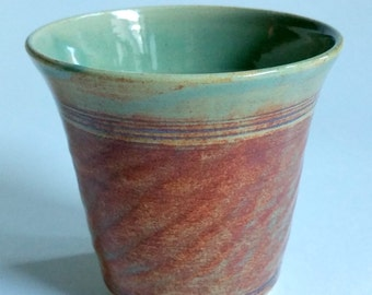 Amber and Green Pottery Tumbler or Juice Glass - 8 ounce capacity - Wheel Thrown and Chattered