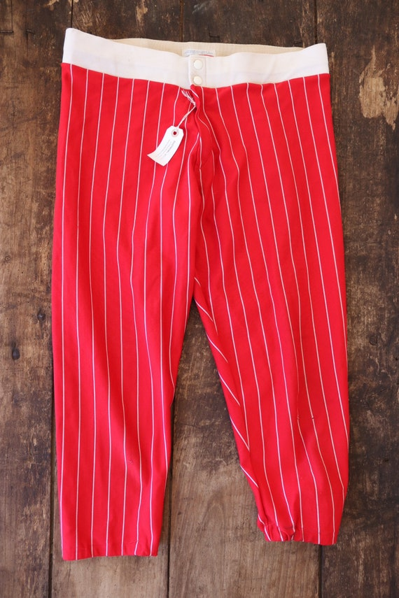 "Vintsge 1960s 60s 1970s 70s nylon red white striped base ball pants trousers sportswear Talon zipper 33"" x 23"""