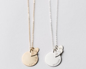 Personalized Disk With Initial Heart Tags • Custom Heart Jewelry Gift • Initial Necklace in Silver, Gold, and Rose • Layered and Long LN228