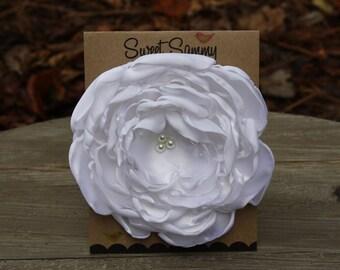 34 Colors Large Satin Flower Pin, White Satin Flower Pin
