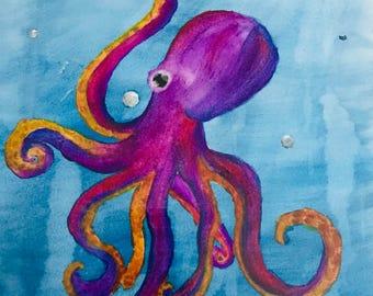 Purple Octopus watercolor painting