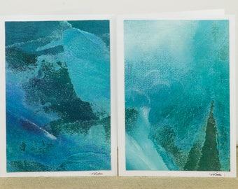 Hand Painted Abstract Teal Card, Acrylic Canvas Painting Card, Original Art Card, Teal Greeting Card, Nancy Little Art, 5X7 Card, Art Card