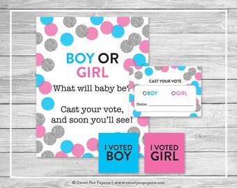 Pink and Blue Gender Reveal Voting Game - Printable Gender Reveal Vote Cards - Gender Reveal Voting Station - Blue Pink Silver - SP113
