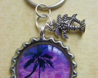 Keyring - Purple Palm Tree Sunset Bottlecap Keyring Charm Birthday Gift Present Holiday