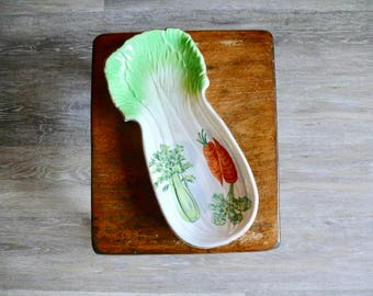 Hand Painted Ceramic Celery Tray, White Celery Shaped Plate, Spoon Rest, Country Farmhouse, Mid Century Serving Tabletop