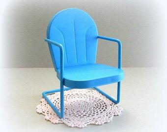 1:6 Scale Doll Chair Miniature Chair Doll Display Blue Chair Garden Chair Toy Chair Metal Chair Bear Chair Barbie Blythe Playscale Furniture