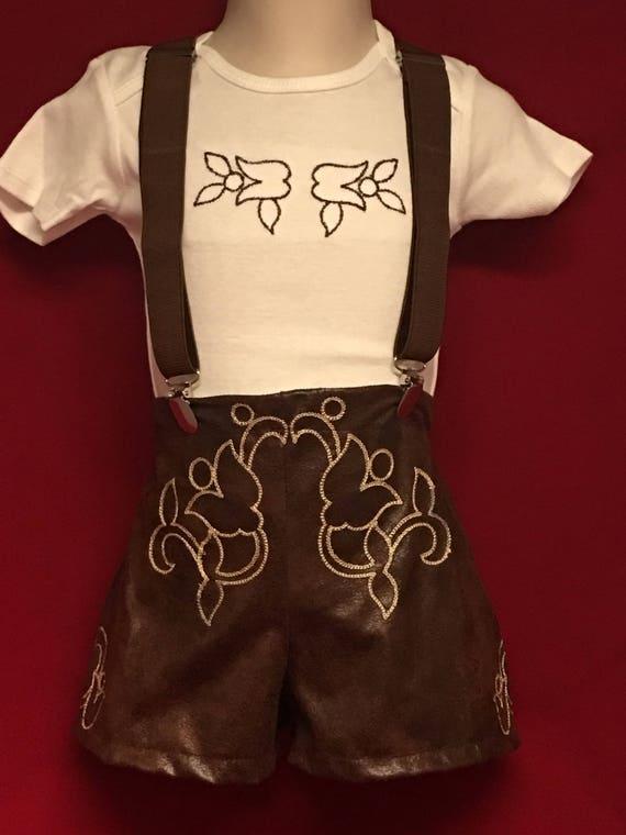 Leather look lederhosen with suspenders