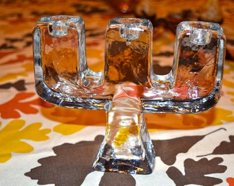 Gorgeous heavy ice block candle holder.
