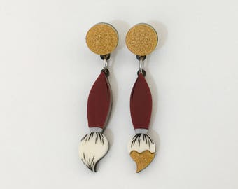 Paint Brush Earrings non matching