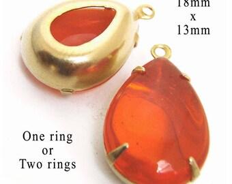 Hyacinth Orange Vintage  Glass Beads - Pendants or Earring Jewels - 18x13 Teardrop - Sheer - 18mm x 13mm Pear - One Pair