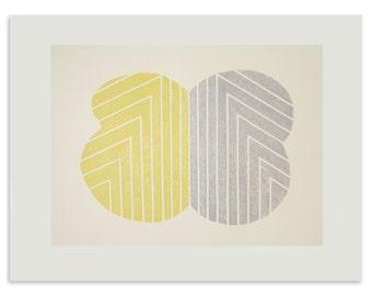 Yellow and grey abstract screenprint, original, handmade art, Frank Stella, Emma Lawrenson