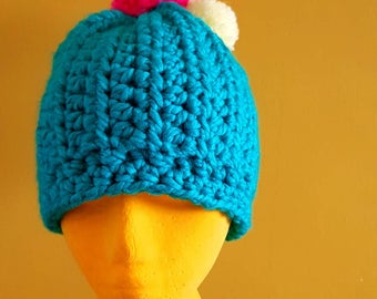 Chunky Crochet Hat Knit Hat Pom pom Hat Beanie Hat Women's Hat Teal Green Pink Bright Hat