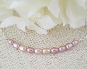 Pearl necklace, Pink pearl necklace, Simple pearl necklace, Petite pearl bridal necklace, Freshwater pearl necklace, Bridesmaid necklace