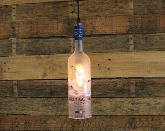 Grey Goose Vodka Pendant Light, Industrial Ceiling Light Fixture, Handmade Hanging Lamp, Bar Lighting, Restaurant Lighting, Kitchen Lighting