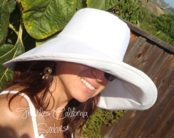 White Wide Brim Sun Hat sizes Small to Extra Large CUSTOM Sun Hat Wedding Party Accessory Elegant Casual Foldable Travel Bridesmaids Gifts b