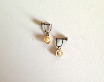 Gold Tone Delicate Vintage Earrings with Pearl Detail