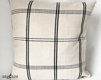 Naomi - Cream Black Striped Pillow Cover With Black and Gold Zipper - Home Decor - Farmhouse - Boho - Beach Design - Faux Leather