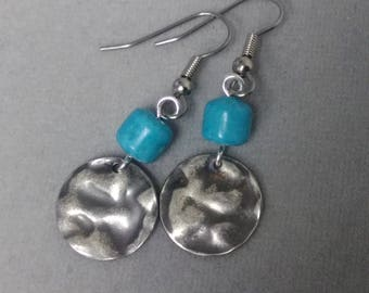 Hammered Disc and Magnesite Earrings