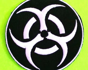 Biohazard Symbol Toxic Zombie Warning Patch Black and White Iron or Sew On Patch