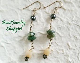 Pearl, Jasper, Opal Sterling Silver Earrings