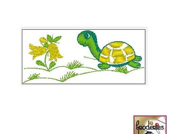 Embroidery file format: turtle and flowers