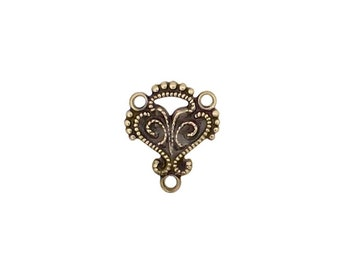 8 Antiqued Brass Ox Three Hole Connectors - Small Tiny Victorian Renaissance Style Antique Bronze Filigree for Jewelry Making Nickel Free