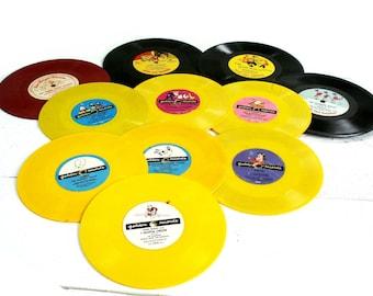 Vintage Vinyl Red Yellow Black Children's Records