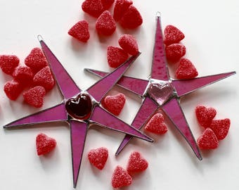 Shining Heart Star- 7 inch pink art glass star with red or pink glass heart center