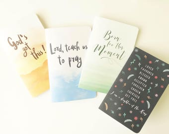 """Set of 4 Journal/Notebook with Quote Pages (5""""x8"""") - Devotional Prayer Journal - Bible Journaling - Christian Gifts - Sermon Notes"""