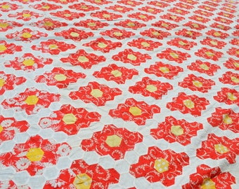 Vintage 1960s 60s Hand Stitched Quilt Top