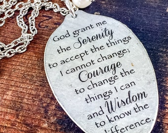 Serenity Prayer Spoon pendant necklace, God grant me the serenity to accept the things I cannot change, Recovery gift, 12 step gift