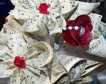 Origami Sheet Music Wedding Bouquet 8 Flowers and Many Choices