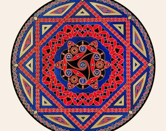 Red and Blue Celtic Mandala, Giclee Print, Art Print, Sacred Geometry, Celtic Geometry, Alchemy