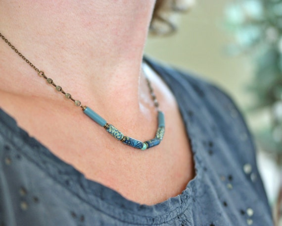 Boho necklace 'Ixia' long blue, yellow and green patterned beads on brass